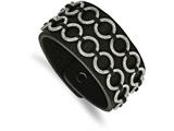 Chisel Stainless Steel Polished Textured Black Leather Bracelet style: SRB1659775