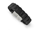 Chisel Stainless Steel Brushed Black Leather Bracelet style: SRB1663825
