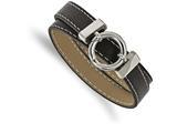 Chisel Stainless Steel Polished Black Leather Wrap Bracelet style: SRB1671