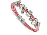 Chisel Stainless Steel Polished Dangle Bead Pink Leather Bracelet style: SRB16818