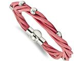 Chisel Stainless Steel Polished Bead Pink Leather Bracelet style: SRB1682775