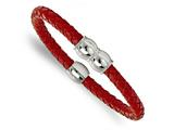 Chisel Stainless Steel Polished Red Braided Leather Bracelet style: SRB16848