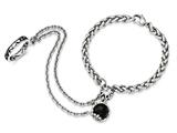 Chisel Stainless Steel Antiqued/polished Crystal/glass Connected Braceletandring style: SRB1699