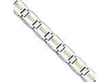 Chisel Stainless Steel Polished W/14k Gold D/c Link Bracelet style: SRB17098