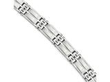 Chisel Stainless Steel Satin and Polished W/black Cz Link Bracelet style: SRB171285