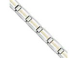 Chisel Stainless Steel Polished and Brushed W/14k Gold Link Bracelet style: SRB1721875
