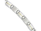 Chisel Stainless Steel Polished and Brushed W/14k Gold Link Bracelet style: SRB1722875