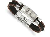Chisel Stainless Steel Polished Ip-plated Skull Faux Leather andsilocone Cord Bracelet style: SRB17438