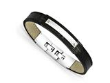 Chisel Stainless Steel Polished Black Ip-plated Leather 8.5in Bracelet style: SRB175085