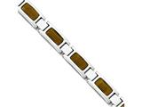 "Chisel Stainless Steel Polished With Tiger""s Eye 8.5in Bracelet style: SRB175385"