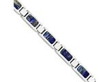 Chisel Stainless Steel Polished With Lapis Lazuli Inlay 8.5in Bracelet style: SRB175485