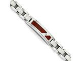 Chisel Stainless Steel Brushed and Polished W/ Wood Inlay And Cz Bracelet style: SRB175885