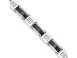 Chisel Stainless Steel Polished W/ Black Ceramic And Cz 8.5in Bracelet style: SRB176185