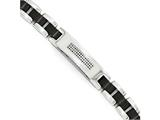 Chisel Stainless Steel Brushed And Polished Black Ip-plated And Cz Bracelet style: SRB176785