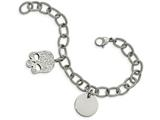 Chisel Stainless Steel Polished With Crystal Skull Charm 7.5in Bracelet style: SRB177175