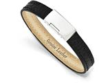 Chisel Stainless Steel Polished Textured Black Leather 8in Bracelet style: SRB17748