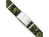 Chisel Stainless Steel Polished Green Camo Fabric Adjustable Id Bracelet style: SRB1778