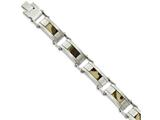 Chisel Stainless Steel Satin W/brown Camo Fabric Inlay 8.5in. Link Bracelet style: SRB178185