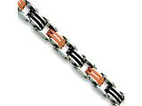 Chisel Stainless Steel Black and Orange Rubber Bracelet - 8.75 inches