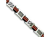 Chisel Stainless Steel Black and Orange Rubber Bracelet - 8.5 inches
