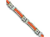 Chisel Stainless Steel Orange Rubber Bracelet - 9 inches