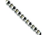 Chisel Stainless Steel 24k Plated and Black Rubber Bracelet - 8.75 inches style: SRB190