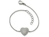 Chisel Stainless Steel Polished W/ Preciosa Crystal Heart W/1 Inch Ext. Bracelet style: SRB19707
