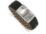 Chisel Stainless Steel Polished Brown Leather Buckle Bracelet style: SRB19749