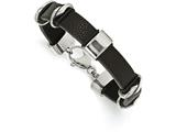 Chisel Stainless Steel Polished Black Leather Bracelet style: SRB198185