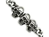 Chisel Stainless Steel Polished Antiqued Skull Bracelet style: SRB198385