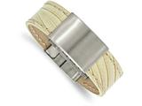 Chisel Stainless Steel Brushed White Leather Id Bracelet style: SRB198585