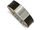 Chisel Stainless Steel Brushed Black Leather  Id Bracelet style: SRB198685