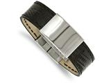 Chisel Stainless Steel Polished Black Leather  Id Bracelet style: SRB198885