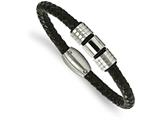 Chisel Stainless Steel Polished And Brushed Leather Bracelet style: SRB199285
