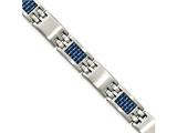 Chisel Stainless Steel Brushed With Blue Carbon Fiber Bracelet style: SRB199585