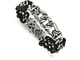 Chisel Stainless Steel Polished Antiqued Black Leather Bracelet style: SRB200285