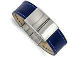 Chisel Stainless Steel Polished Blue Leather 8.25in Id Bracelet style: SRB2003825
