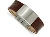Chisel Stainless Steel Brushed Medium Brown Leather  Id Bracelet style: SRB200785