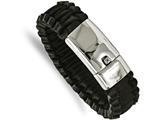 Chisel Stainless Steel Polished Flat Braided Black Leather Bracelet style: SRB201585