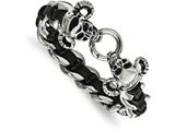 Chisel Stainless Steel Polished Blk Leather Antiqued Skull Bracelet style: SRB201685