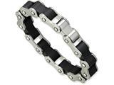 Chisel Stainless Steel Black Rubber Bracelet style: SRB20185