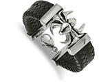 Chisel Stainless Steel Polished Antiqued Blk Leather Spider Bracelet style: SRB201985