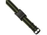 Chisel Stainless Steel Brushed Black Ip Green Fabric Adj. Id Bracelet style: SRB2022
