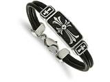 Chisel Stainless Steel Polished Antiqued Cross Black Leather Bracelet style: SRB202385