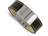 Chisel Stainless Steel Polished Black Leather/yellow Stitch Id Bracelet style: SRB203385
