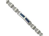 Chisel Stainless Steel Brushed And Polished W/blue Carbon Fiber Bracelet style: SRB203785