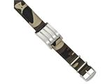 Chisel Stainless Steel Brushed And Polished Camo Fabric Adj. Id Bracelet style: SRB2038