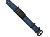 Chisel Stainless Steel Brushed Black Ip Blue Jean Fabric Adj. Id Bracelet style: SRB2043