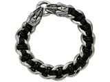 Chisel Stainless Steel Polished Blk Leather Antiqued Dragon Head Bracelet style: SRB204485