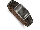 Chisel Stainless Steel Brushed Antique Brown Braided Leather 9in Bracelet style: SRB20459